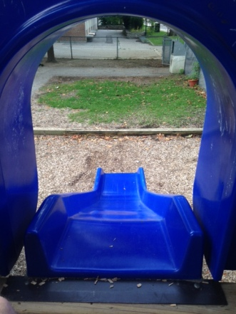 The view from inside a covered slide