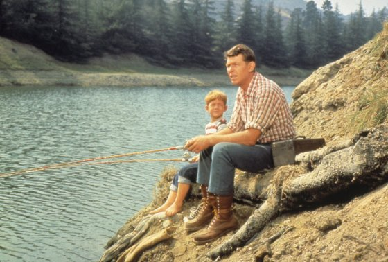 Young boy and his father fishing