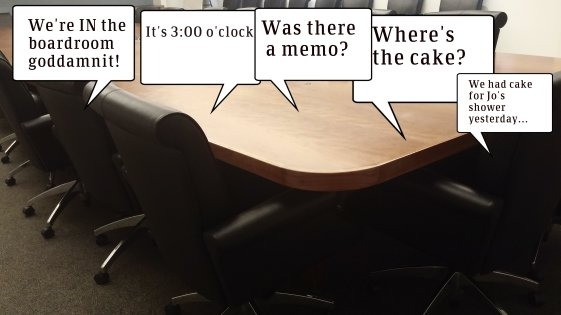 B is for Boardroom meetings, unless there's cake